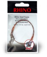 0,35mm Rhino Steel Trace 7x7 0,5m 6kg 2 pieces  Nylon-coated, with a barrel-type swivel and a safety swivel